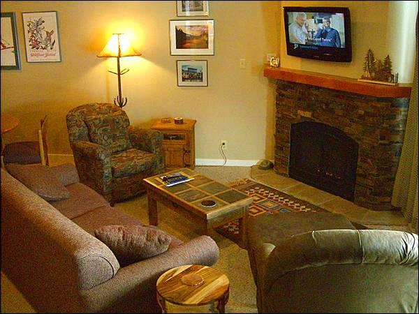 Living Room Boasts a Flat-Screen TV, Gas Fireplace, and Sleeper Sofa - Great for Couples Traveling Together - Close to the Shuttle Stop (1306) - Crested Butte - rentals