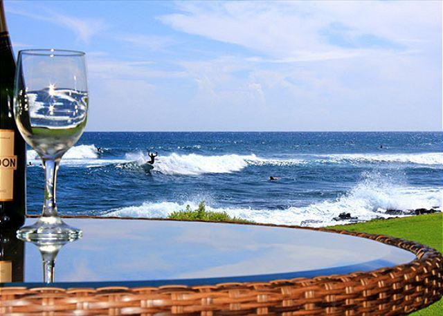 Surfbreak off the lanai at Kuhio Shores 119 - Kuhio Shores 119 - Two Bedroom Condo with White Water Ocean Views - Poipu - rentals