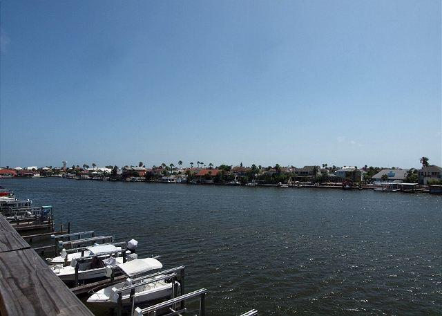 Patio view - Padre Island Getaway is a Canal front Condo with Boat Slip and Great Views! - Corpus Christi - rentals