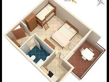 SA2(4): floor plan - 7922 SA2(4) - Cove Pokrivenik - Croatia - rentals