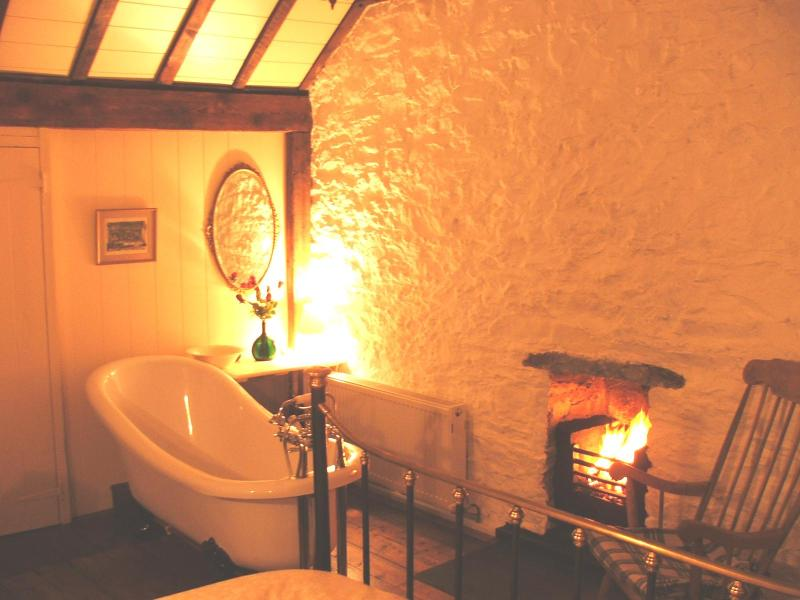 Enjoy a fireside soak before retiring to the very comfortable Kingsize Victorian Bed. - Cosy Romantic Welsh Cottage by Dolphin Bay - New Quay - rentals