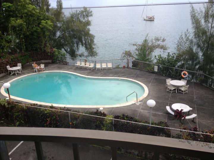 Outdoor pool seen from balcony - Ocean front condo  next to Reeds Bay in Hilo, HI - Hilo - rentals