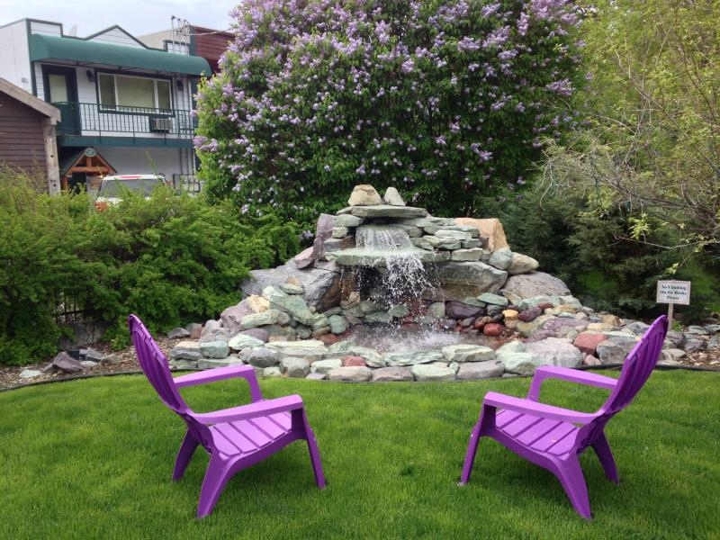 Lawn and waterfall - Our Vintage Cottage - Heart of Bigfork Village - Bigfork - rentals