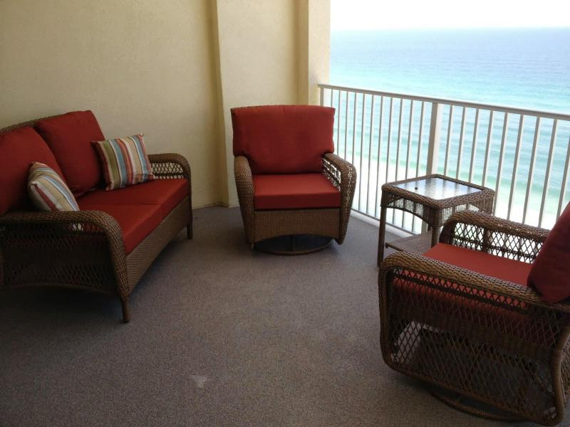 Balcony seating - Amazing New Beach Condo with 2 Bedrooms at Ocean Reef - Panama City Beach - rentals