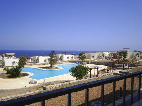 Balcony view with panoramic sea views and large swimming pool - Seaview Golf & Beach Residance FREE WIFI - Kyrenia - rentals