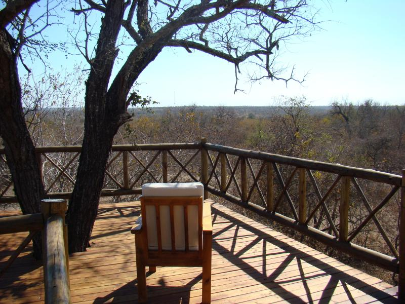 This is the deck looking over the African bush and into Kruger Park - Majuli Tree Lodge - Marloth Park - rentals