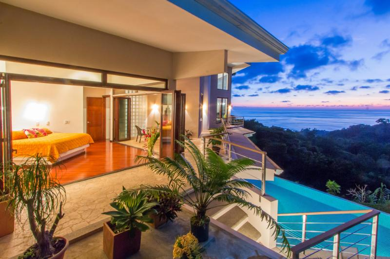 Master Bedroom, Pool & Sunset at Casa Bambu - Discounted Rates for Luxury Villa - Dominical - rentals