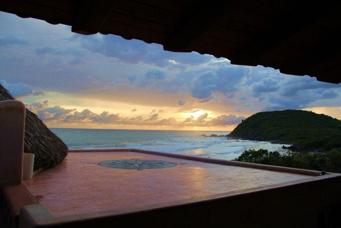 Fourth level Yoga Deck @ sunset - Beachfront Villa with Infinity pool on Surf Pt. - Troncones - rentals