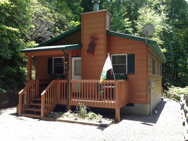 FRONT OF THE CABIN, 3 STEPS TO THE FRONT DOOR - HIDEAWAY CABIN,SECLUDED, AC, FIREPLACE, HOT TUB - Maggie Valley - rentals