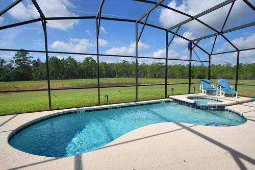 South facing pool with lake and woodland conservation views - Wilderness Lodge, the villa for a luxury holiday - Kissimmee - rentals