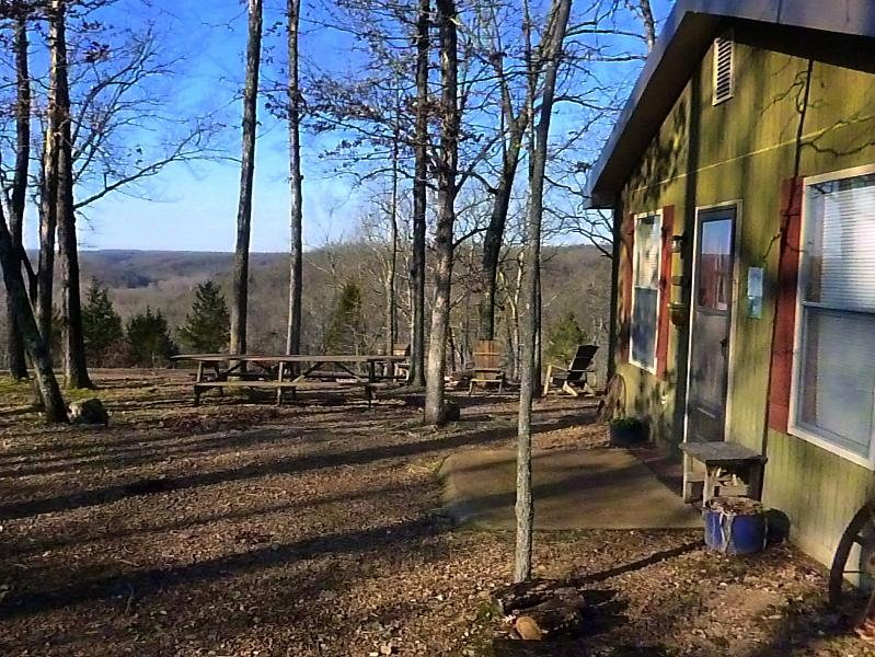 The cottage and view into the valley - Turkey Ridge Cottage at Rock Eddy Bluff Farm - Dixon - rentals