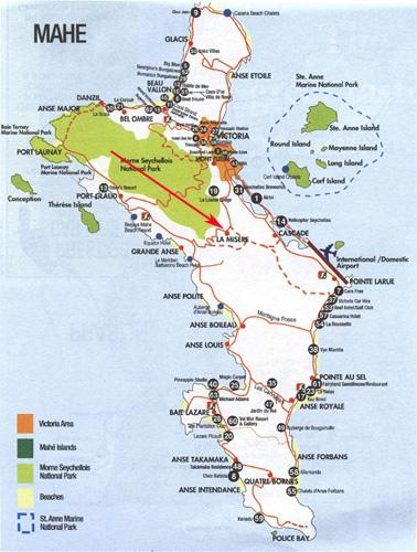 Arrow showing location of Armony Residence on the map of Mahe - Armony Residence - Self catering - Victoria - rentals
