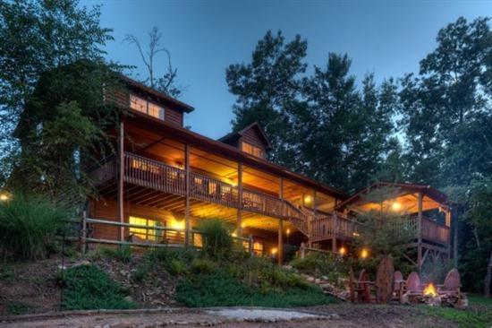 Cabin at dusk - Buckhorn Lodge- Morganton GA - Blue Ridge - rentals