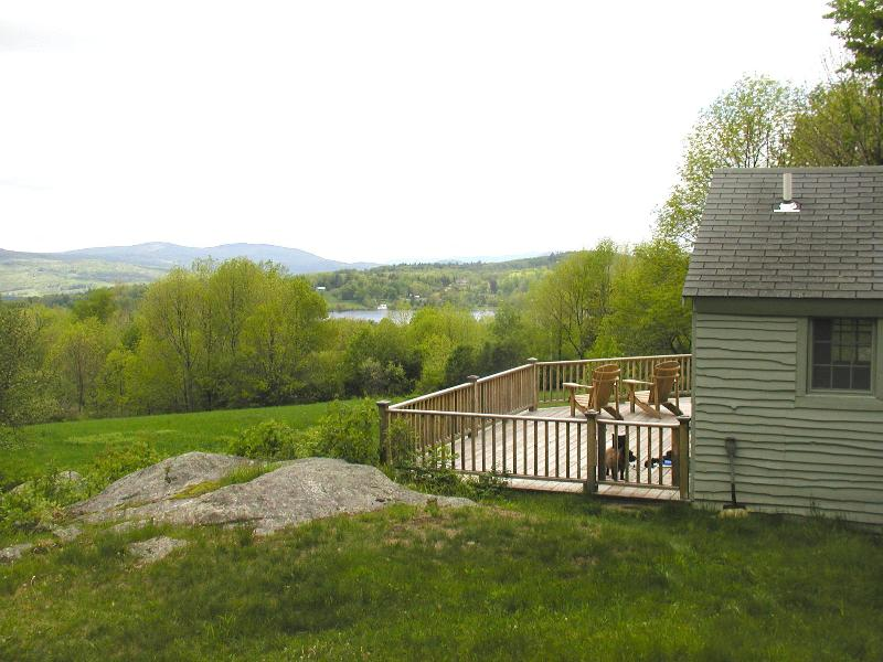 large deck overlooking Star Lake and the mountains beyond - VERMONT cabin-- a country get-away, fun & romance - Belmont - rentals