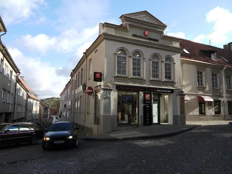 Historic Old Town building in which apartment is located; entrance to right of store. - Cozy Apartment in the Heart of Old Town Vilnius - Vilnius - rentals