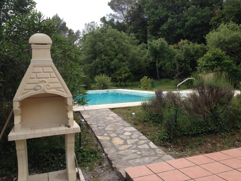 View of pool from outdoor patio - Pet-Friendly, Cote D'Azur Villa with a Grill, Fireplace, and Pool - Mougins - rentals