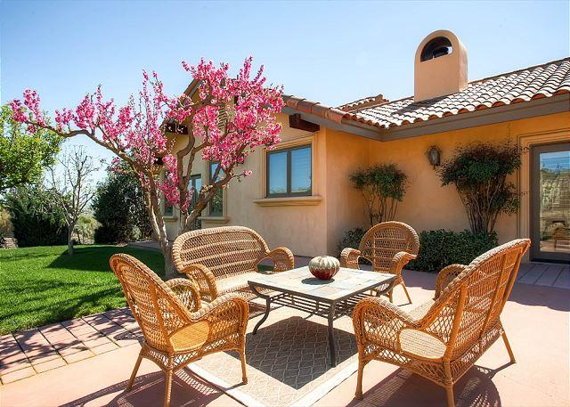 Front Patio with Vineyard Views - Views in the Midst of Vines--Solitude with Hacienda Style - Paso Robles - rentals