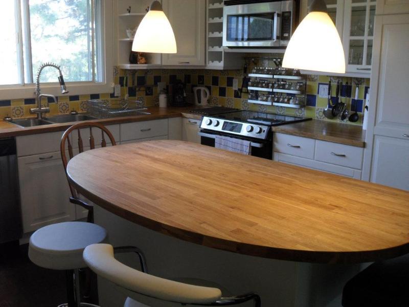 kitchen , stinless steel fridge,dw, mv,stove - 2 br Pear Suite, King/Queen, Dream kit,deck, yard - Penticton - rentals