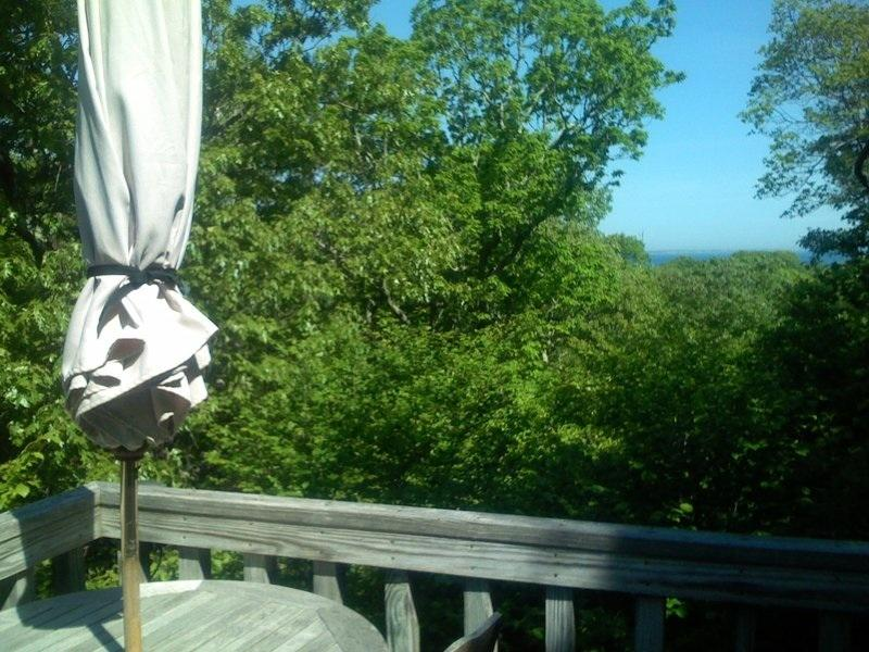 Tranquil setting with water views through the trees on middle deck - Aquinnah - Vineyard Up-Island Treehouse - Waterviews - Gay Head - rentals