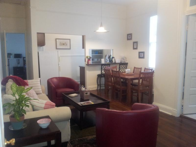 Living room, dining area and kitchen from front door - Wonderful Uptown New Orleans Apartment! - New Orleans - rentals