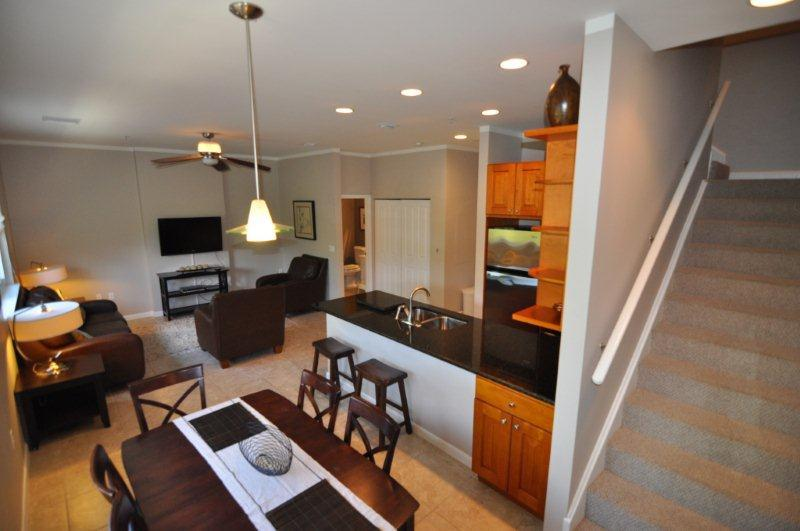 Open concept living area, tastefully decorated. Watch TV while you cook dinner :) - Central Luxury Condo across from Beach in Cayman! - Grand Cayman - rentals
