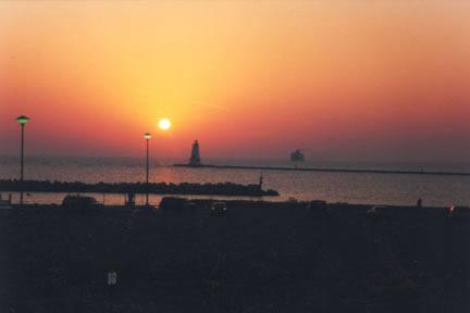 Sunset view from balcony - The Penthouse - Ludington - rentals