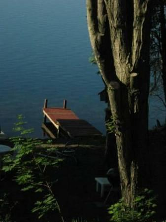 The dock  but attached deck not shown - Rustic Lake Cottage - Cambridge - rentals