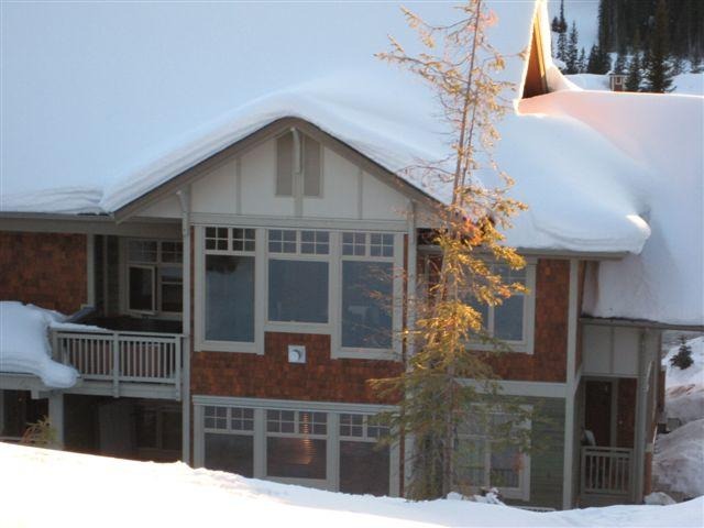 View of the condo from the golf course - 'Bearadise' at Settlers Crossing-Sun Peaks Resort - Sun Peaks - rentals