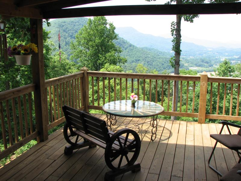 view of the valley from the large end of the deck - Mountain Log Cabin: Whispering Winds/Waynesville - Waynesville - rentals