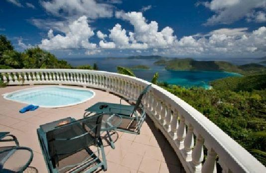 Cinnamon Tarn hot tub, deck and view - Cinnamon Tarn-  St. John Villa Rental - Cruz Bay - rentals