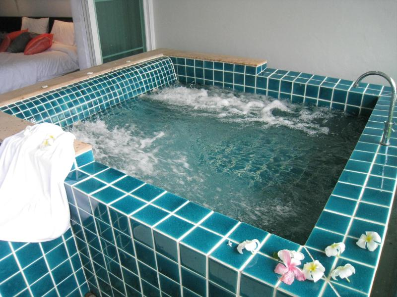 Slip into the jacuzzi on your private terrace - 1BD Sea View Loftstyle Apart, Beachfront Pool Access - Cape Panwa - rentals
