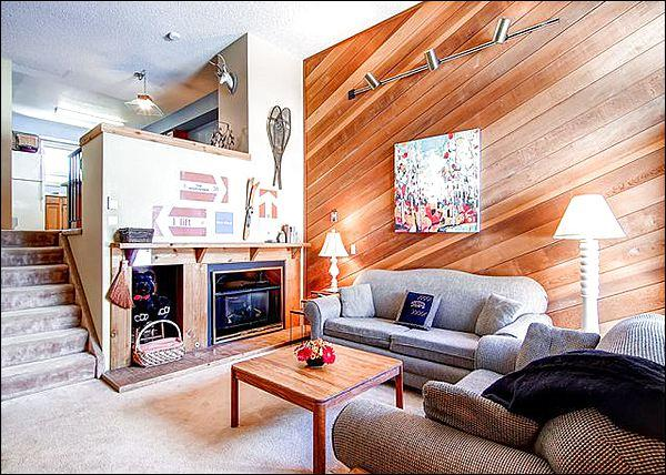 Stylish Living Room has a Wood Fireplace and Lovely Wood Paneling - Walk to Main Street - Stylish Design & Comfortable Furnishings (13397) - Breckenridge - rentals
