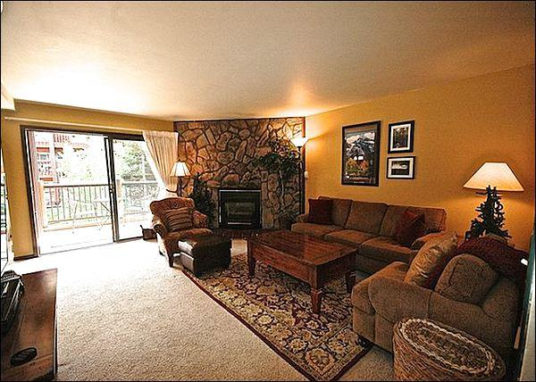Spacious Living Room has a Stone Gas Fireplace - Walk to the Shops & Restaurants of Main Street - Modern Mountain Charm (13398) - Breckenridge - rentals