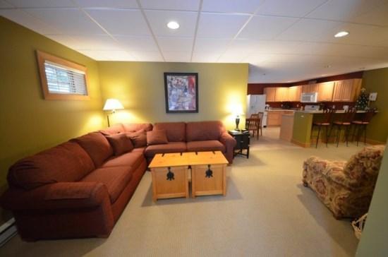Spacious Living Room - Cozy One Bedroom Ski In From Boyneland - Walking Distance To Village of Boyne - Boyne Falls - rentals