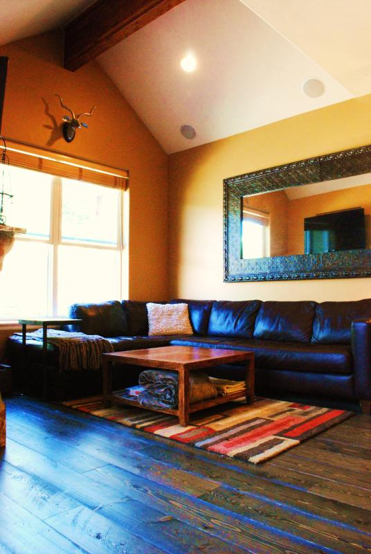 Living room with beamed ceilings and gas fireplace - Perfect Old Town Location!  2 Blocks from Main St - Park City - rentals