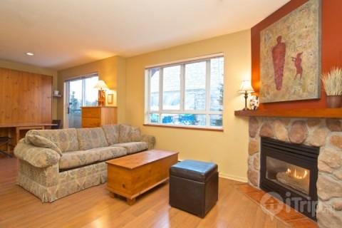 Generous living room with sofa bed and Fireplace - Great Value and Super Location in this Eagle Lodge Studio that sleeps 4 Unit # 224 - Whistler - rentals