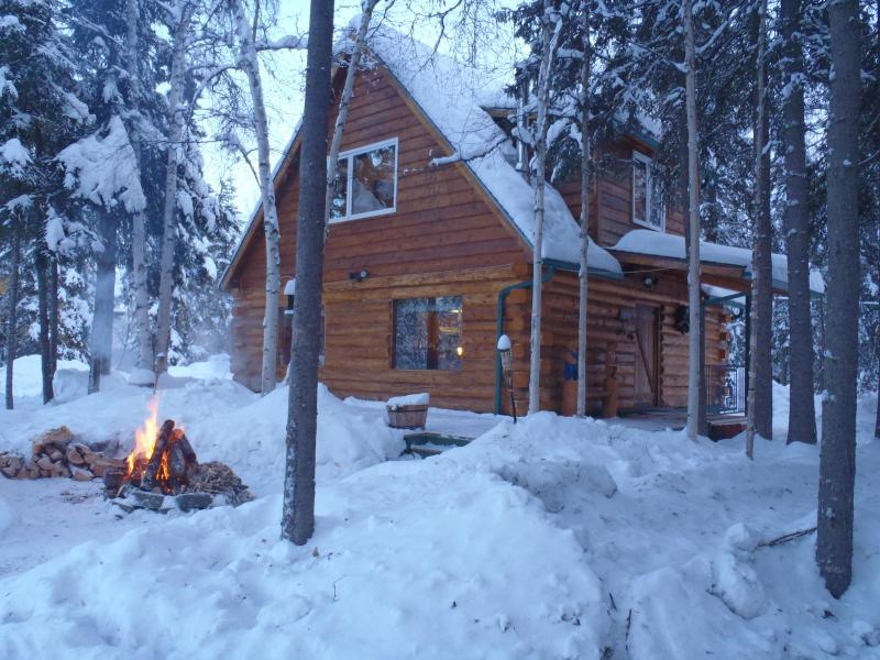 Cabin view in winter - Moose Walk Cabin - North Pole - rentals