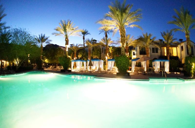 Main Walk-In Beach Pool at Sunset with Cabanas and Amazing Mountain Views - Legacy Villas Luxury View Condo 23 Pools and Spas! - La Quinta - rentals