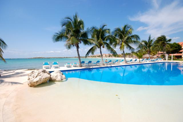 One of the Two Pools Facing the Beach. - Charming Studio on Beach/Marina, Clean & Uplifting - Puerto Aventuras - rentals
