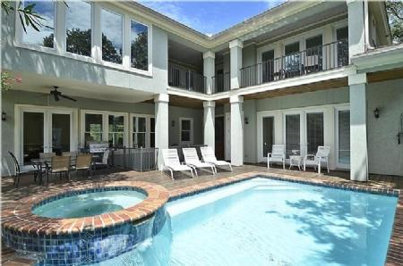 Plenty of Sun and Shade - 6 Bedroom 3rd Row Home with Private Pool and Spa Steps to the Beach - Hilton Head - rentals