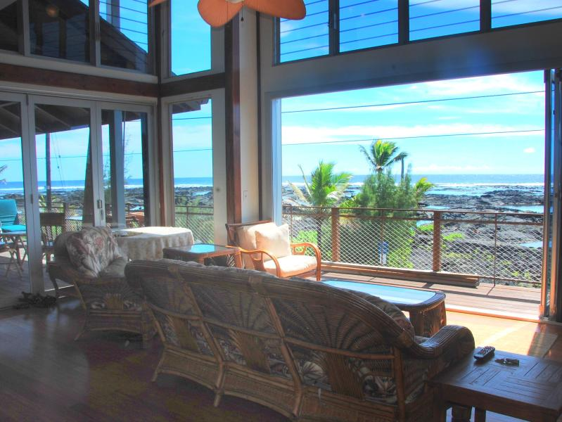 Living Room View through bi fold doors - Kapoho Sunrise House - Pahoa - rentals