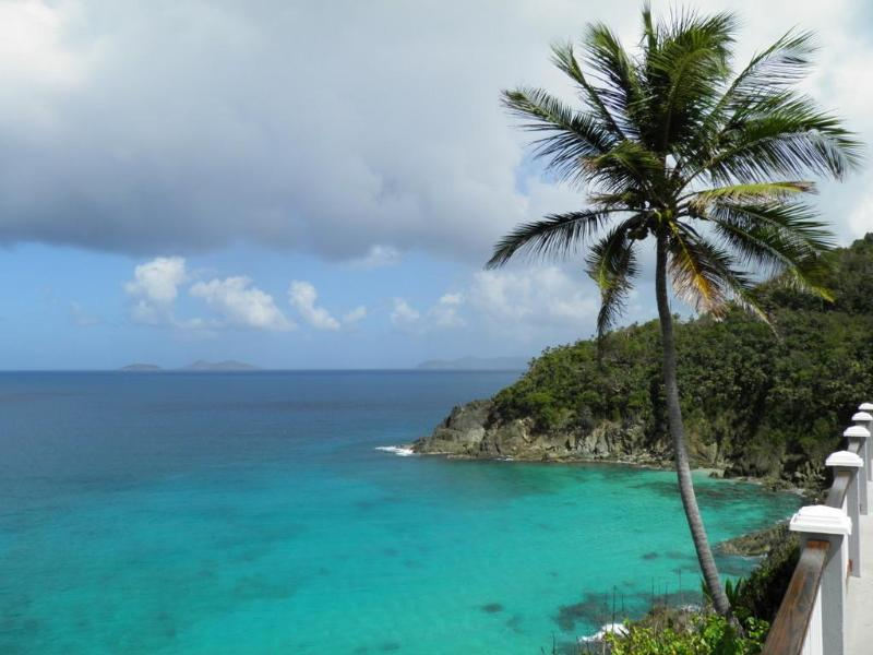 Beach view from our deck - Oceanfront secluded villa, walk to private beach - Saint Thomas - rentals