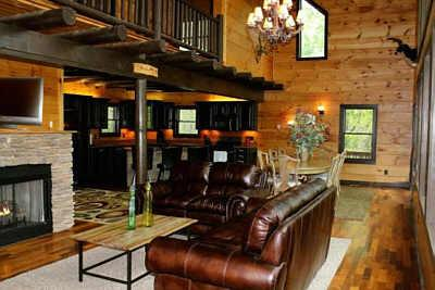 Beautiful wood craftsmanship, 1st stone fire place, TV, blueray, gas logs, with a 'real' cabin feel. - Elk River Cabin/ Call 4 free night offer - Butler - rentals