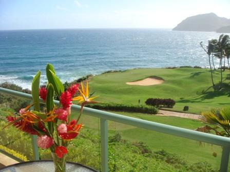Flowers on our lanai with golf, bay, and mountain view - Pukalani (Heaven's Door) a Marriott Grand Residence - Lihue - rentals