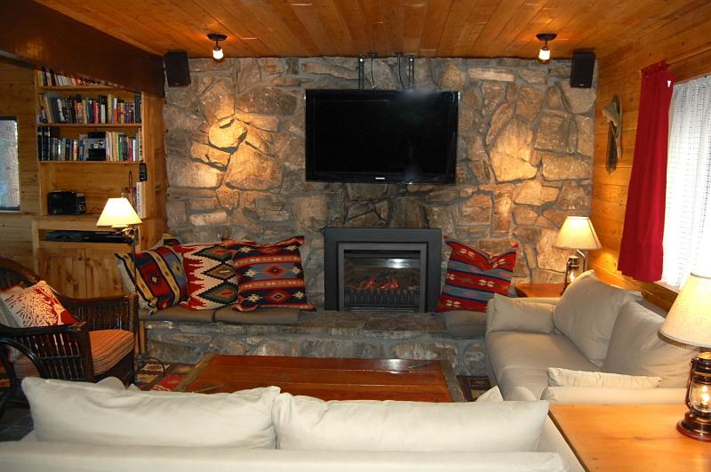 Living Room with gas fireplace - Lakeview Cabin --Walk to the Lake and Village! - City of Big Bear Lake - rentals