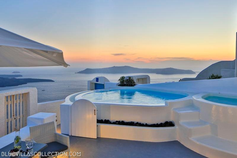 Outdoor jacuzzi with caldera view - Blue Villas | Iokasti | Private And Romantic - Imerovigli - rentals