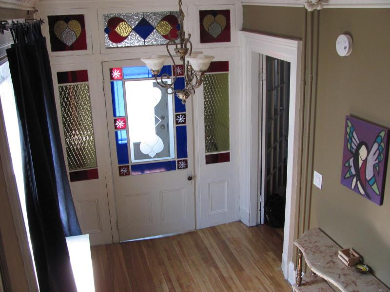 Entrance w/ stained glass - Fully furnished elegant 6 bedroom heritage home - Saint John's - rentals