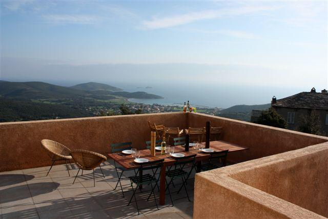 The Upstairs Terrace with its Magnificent View of the Mediterranean. - Apartment in Villa, Cap Corse, Superb Sea Views - Tomino - rentals