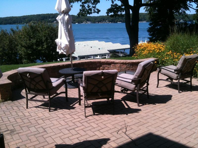 Back Patio - Gorgeous Lake Geneva Lakefront Home - Lake Geneva - rentals