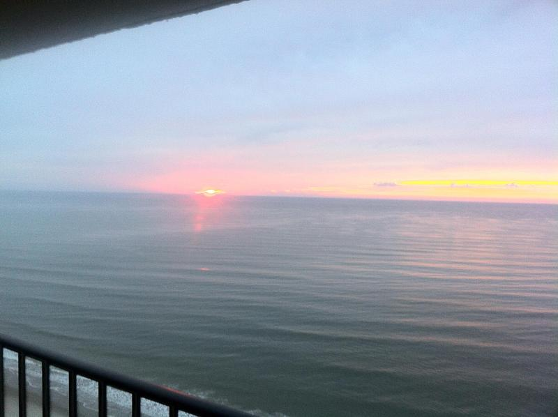 Sunrise from Balcony - Charming Oceanfront Vacation Condo with a Pool, My - Myrtle Beach - rentals
